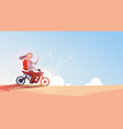 man riding off road bike in helmet guy travel on vector image