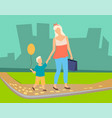 mother and kid with balloon walking in park vector image vector image