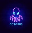 octopus neon label vector image