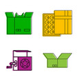 open box icon set color outline style vector image