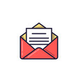 open envelope with the document email icon vector image vector image