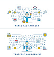 Personal manager Strategic management Social media vector image