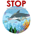 pollution control scene with dolphin and plastic vector image