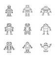 robot icons set outline style vector image vector image