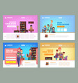 school education landing learning distance vector image