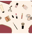 Seamless Cosmatic bag and accessories vector image