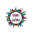 Seasons Greetings Christmas Doodle Bright vector image