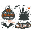 Set of Halloween symbols with hand lettering vector image vector image