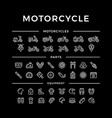 set of motorcycle related line icons vector image vector image