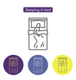 sleeping in bed line icon vector image vector image