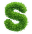 small grass letter s on white background vector image vector image