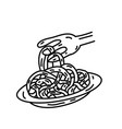 spaghetti icon doodle hand drawn or black vector image