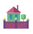 the exterior of the family house stylized in flat vector image vector image