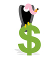 Vulture and Dollar Condor Griffon and sign of vector image vector image