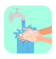 washing hands with soap vector image vector image