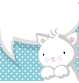 white cute little kitty bablue backdrop vector image vector image