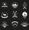 Set of hunting camping fishing armory and shooters vector image