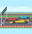race cars on finish line sport background vector image
