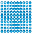 100 sneakers icons set blue vector image vector image