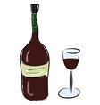 a bottle red wine and glass is ready to be vector image