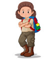 a brunette girl scout character vector image