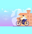 bike friendly city man riding and travel bicycle vector image