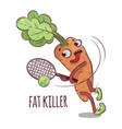 carrot fat killer cartoon tennis sport vector image vector image