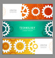 cogwheels banners abstract background with gears vector image