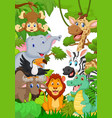 collection animal safari in the jungle vector image vector image