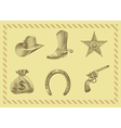 cowboy icon set in engraving style vector image vector image