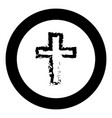 cross black icon in circle vector image vector image