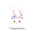 cute rabbit face with flowers easter banner hand vector image
