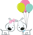dogscouplewithballoon vector image vector image