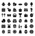 easter set solid style icon vector image