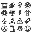 energy electricity icons set on white background vector image vector image