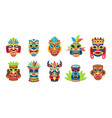 ethnic masks ritual ceremonial tribal mexican vector image
