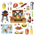family picnic barbecue realistic icons set vector image vector image