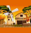 farm scene in nature with barn and windmill and vector image vector image