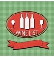 Flat Wine List Menu on striped background fabric vector image