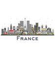 france skyline with gray buildings isolated on vector image vector image