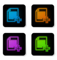 glowing neon add new file icon isolated on white vector image vector image