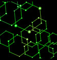 green light connected dots abstract background vector image vector image