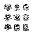 Gym fitness logo badge vector image