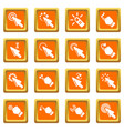 hand click icons set orange square vector image