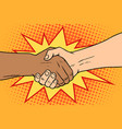 handshake black and white african and caucasian vector image