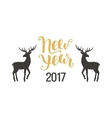 Happy New Year greeting card with hand drawn deers vector image vector image