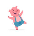 happy pig - modern cartoon character vector image vector image