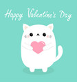 happy valentines day white bacat kitten head vector image vector image