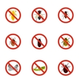 Harmful insects icons set flat style vector image vector image