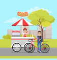 hot dog van and client on sport bike card vector image vector image